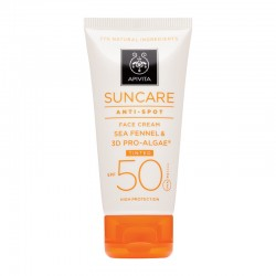 APIVITA SUNCARE FACE CREAM ANTI-SPOT SPF50 TINTED ΜΕ ΚΡΙΤΑΜΟ & 3D PRO-ALGAE® 50ml