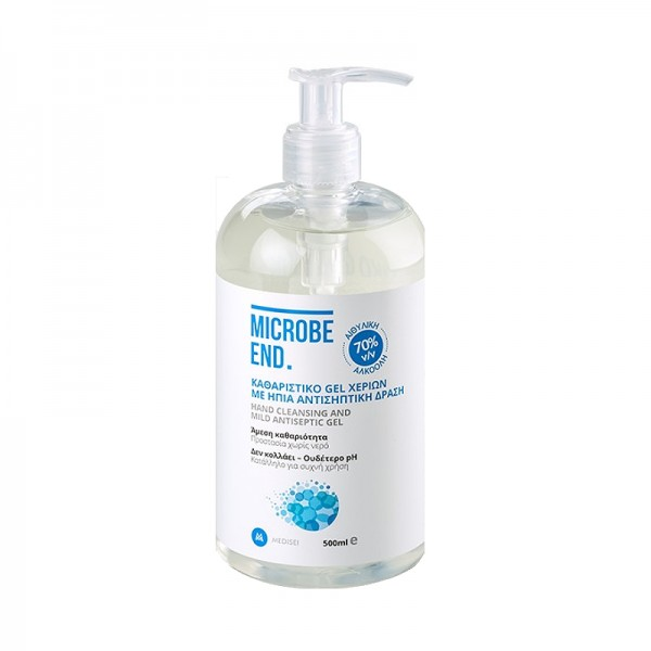 MEDISEI MICROBE END HAND CLEANSING AND MILD ANTISEPTIC GEL 70% ALCOHOL ΚΑΘΑΡΙΣΤΙΚΟ ΖΕΛ ΧΕΡΙΩΝ ΜΕ ΗΠΙΑ ΑΝΤΙΣΗΠΤΙΚΗ ΔΡΑΣΗ 500ml