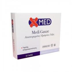 MEDISEI X-MED GAUZE ΑΠΟΣΤΕΙΡΩΜΕΝΕΣ ΥΔΡΟΦΙΛΕΣ ΓΑΖΕΣ 4,8CM X 4,8CM 12PLY 10 τμχ.
