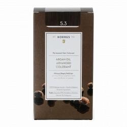 ΒΑΦΗ ΜΑΛΛΛΙΩΝ KORRES ARGAN OIL ADVANCED COLORANT GOLDEN/HONEY LIGHT BROWN 5.3 (Κρέμα βαφή 50ml + Γαλάκτωμα 75ml + Κρέμα μαλλιών 20ml)