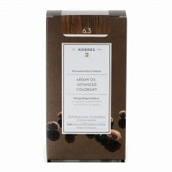 KORRES ARGAN OIL ADVANCED COLORANT GOLDEN/HONEY DARK BLONDE 6.3 (Κρέμα βαφή 50ml + Γαλάκτωμα 75ml + Κρέμα μαλλιών 20ml)