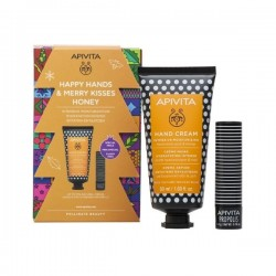 APIVITA PROMO HAPPY HANDS & MERRY KISSES HONEY HAND CREAM INTENSIVE MOISTURIZING ΜΕ ΥΑΛΟΥΡΟΝΙΚΟ ΟΞΥ & ΜΕΛΙ 50ml & LIP CARE ΜΕ ΠΡΟΠΟΛΗ 4,4GR