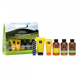 APIVITA GREEK NATURE TRAVEL KIT FOR REJUVENATION (GENTLE DAILY SHAMPOO 75ml, GENTLE DAILY CONDITIONER 50ml, TONIC MOUNTAIN TEA SHOWER GEL 75ml, TONIC MOUNTAIN TEA BODY MILK 75ml, LIP CARE ΜΕ ΒΟΥΤΥΡΟ SPF20 4.4g, SUNCARE FACE CREAM OIL BALANCE SPF30 15ml)