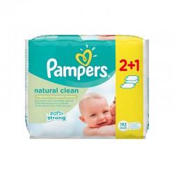ΜΩΡΟΜΑΝΤΗΛΑ PAMPERS BABY WIPES NATURAL CLEAN ΧΩΡΙΣ ΑΡΩΜΑ 3x64τεμ.