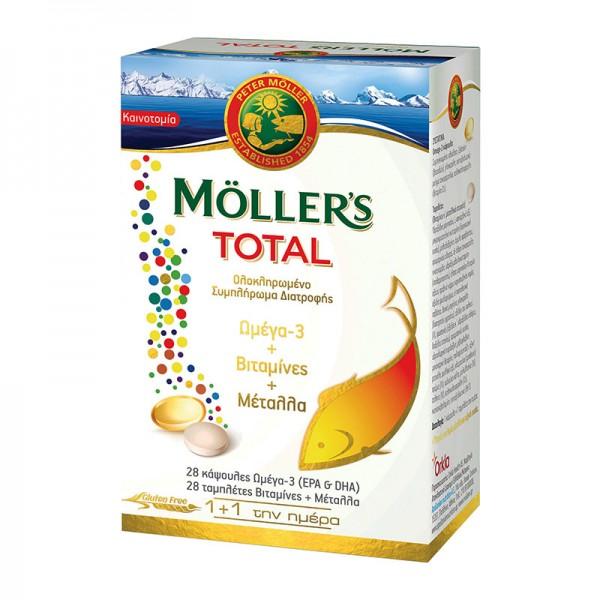 MOLLER'S TOTAL 28 ΚΑΨΟΥΛΕΣ ΩΜΕΓΑ-3 + 28 ΤΑΜΠΛΕΤΕΣ ΒΙΤΑΜΙΝΕΣ & ΜΕΤΑΛΛΑ