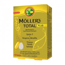 MOLLER'S TOTAL PLUS 28 ΚΑΨΟΥΛΕΣ ΜΟΥΡΟΥΝΕΛΑΙΟ ΩΜΕΓΑ-3 + 28 ΤΑΜΠΛΕΤΕΣ ΒΙΤΑΜΙΝΕΣ - ΜΕΤΑΛΛΑ - ΒΟΤΑΝΑ