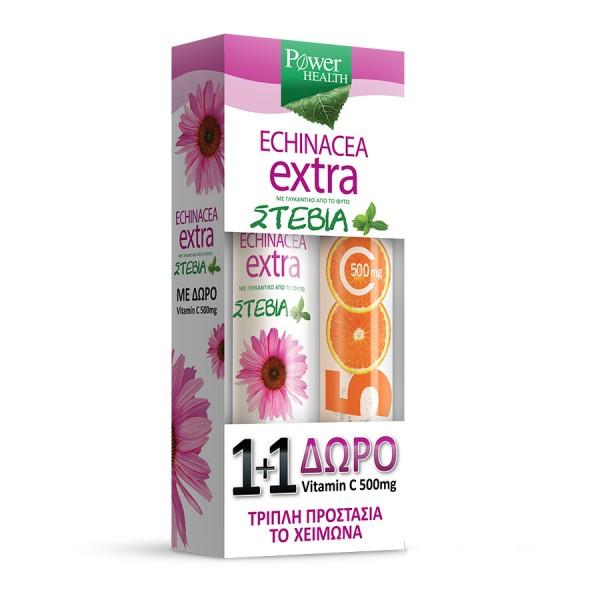 POWER HEALTH ECHINACEA EXTRA 24s STEVIA + ΔΩΡΟ VITAMIN C 500mg 20s